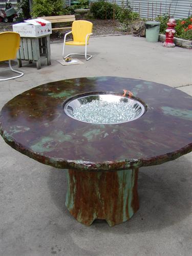 Antique Copper Gas Fire Pit Table