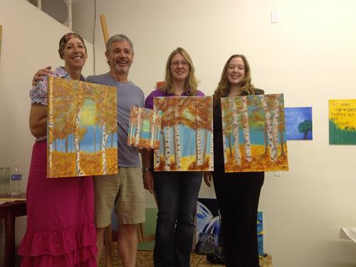You can paint birch trees with fall or summer colors.