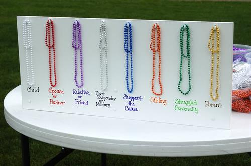 Each color of memory bead represents how suicide has affected your life.