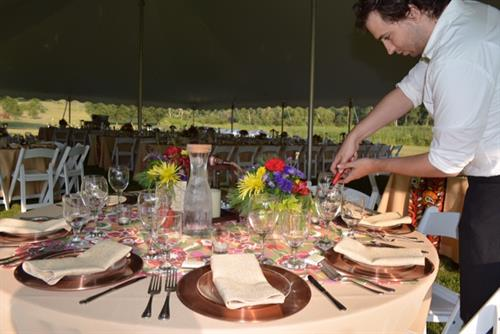 Beautiful Wedding Reception in Silver Lake displaying our tables, chairs and place settings