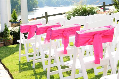 Our White Resin Chairs with Color Ribbon