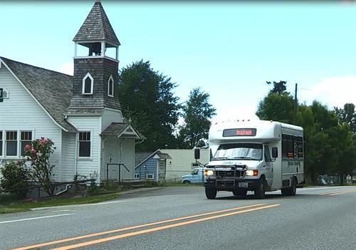 MTA Dial-A-Ride bus on Hwy 3 in Allyn, WA