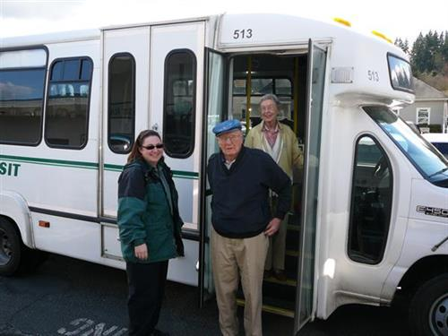 MTA Dial-A-Ride bus dropping off passengers