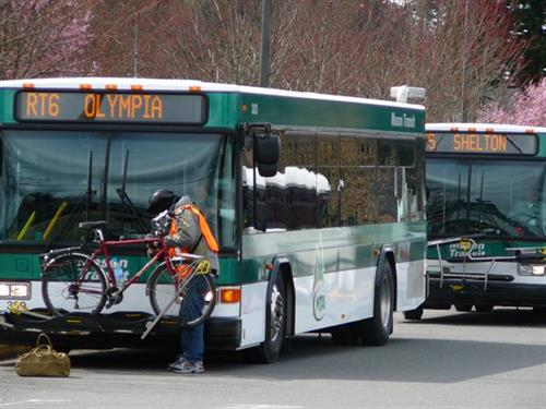 MTA Route 6 to Olympia with passenger loading bicycle
