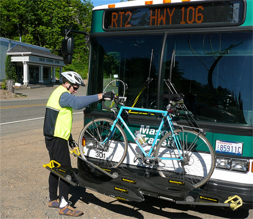 MTA Route 1 on Hwy 106 with passenger loading bicycle