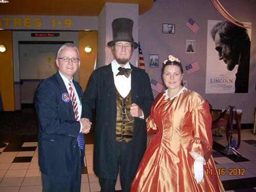 Abe Lincoln & Mary Todd seeing their movie