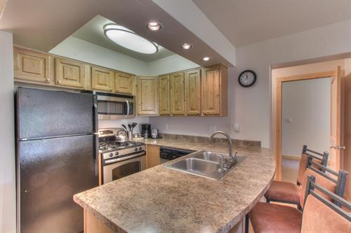 Full kitchens in the one- and two-bedroom condos let you prepare your own meals.