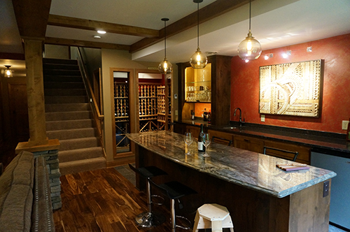 Lower level remodel—featuring modern wine tasting bar with cellar