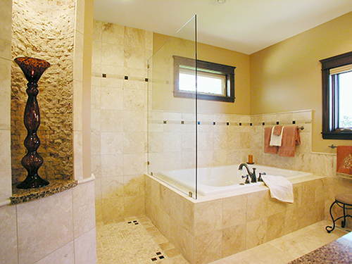 Bathroom remodel—featuring Travertine tile