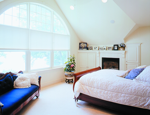 Master bedroom  remodel—featuring window wall and vaulted ceiling