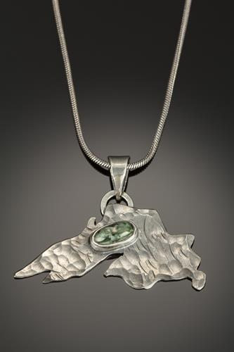 Lake Superior in Sterling EcoSilver and Isle Royal Greenstone