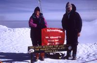 Lori and father Neal Schneider on summit of Mt. Kilimanjaro, Africa in 1993.