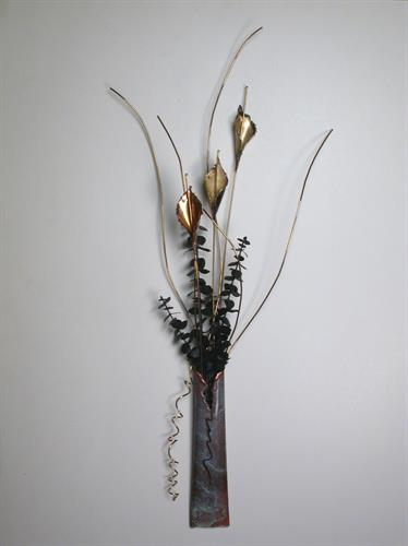 Patina Wall Vase with metal flowers