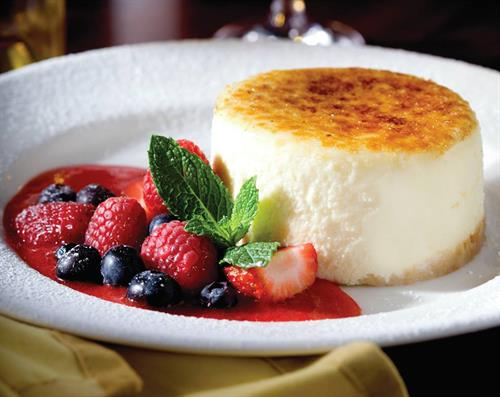 Cheese Cake with Fresh Seasonal Berries....who can resist the Brulee topping?
