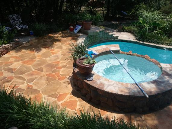 Stamped and Stained Pool Deck - Waxahachie, T.X.