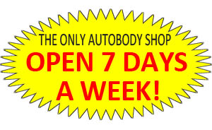 The only autobody shop open 7 days a week.
