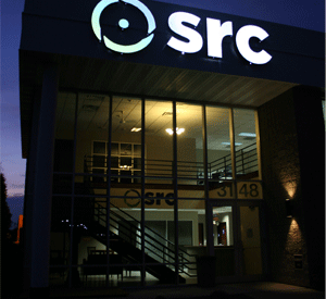 SRC Home Office at twilight.