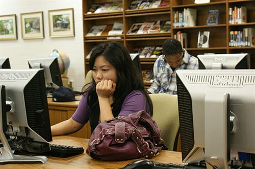 The Durham Tech Orange County Campus Library houses research space and resources for students.