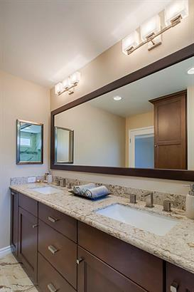Master bathroom remodel with Full Acess frameless cabinetry and Cambria natural quartz countertops