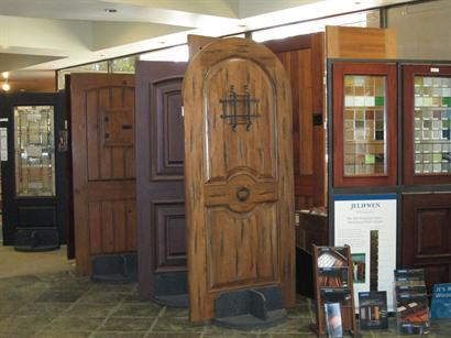 Entry doors on display