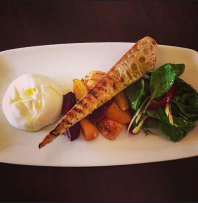 Giardino Burrata - Creamy Mozzarella, Beets, Spinach and Basil Leaves, Toeasted Country Bread