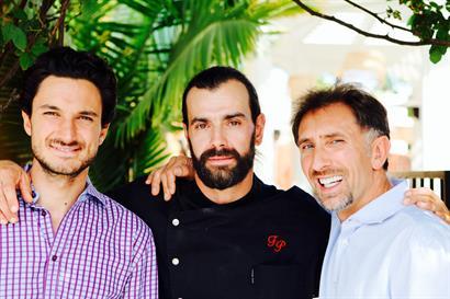 Giardino Restaurant Owners Matteo Carletti And Giorgio Pierangeli With Chef Francesco Pesce