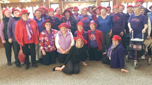 """Red Hat Ladies Join Enlivant for lunch!"""