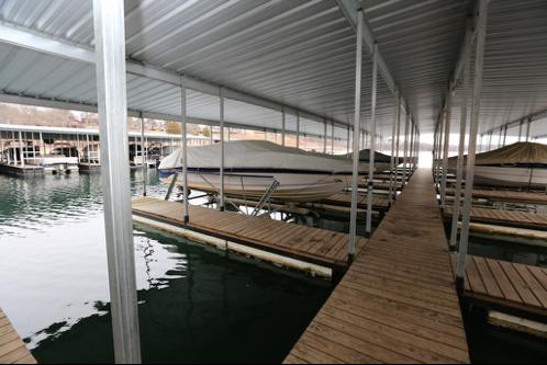 Covered boat slip included in rental