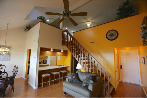 Vaulted ceiling, dining and kitchen