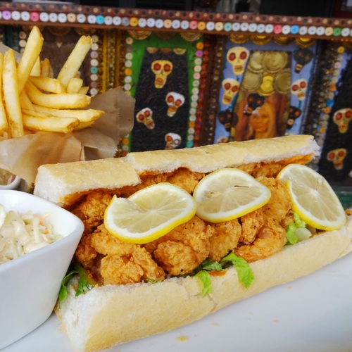 Shrim Po-Boy with fries