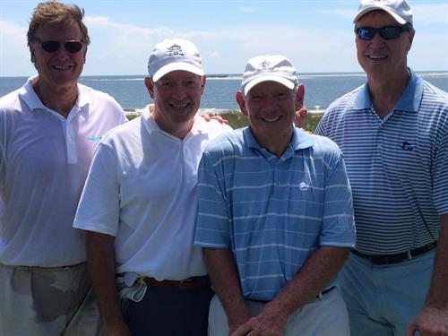 ACG's Mark Bedner and Sea Island's Bill Jones in an annual end of summer grudge match with Ga. Senator David Perdue and CNBC news anchor Joe Kernen. No comment on who paid whom.