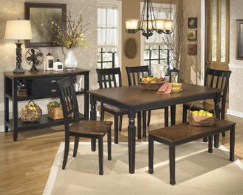 Dining Set Black & Stain finish- Table Chairs & Bench at Spencer Furniture, Spencer, MA