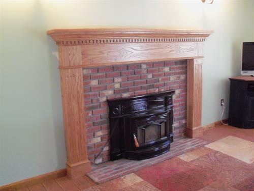 After, oak mantel