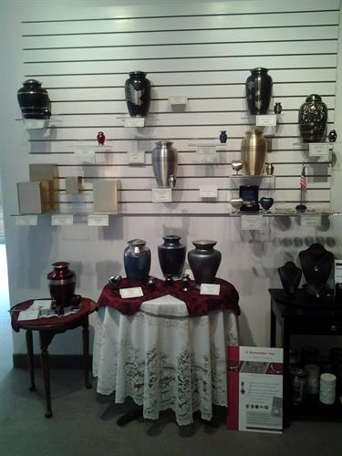 Showroom display of Urn.  We have a variety of urns from wood, brass, bronze, biodegradable and scattering