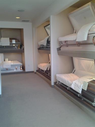 Full Showroom of Caskets. We carry wood and metal caskets to fit every budget.