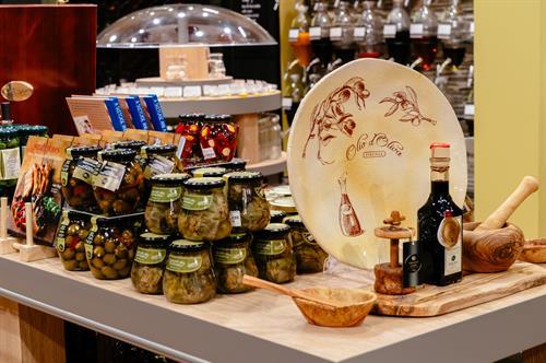 Handmade ceramics and beautiful olive wood serving items