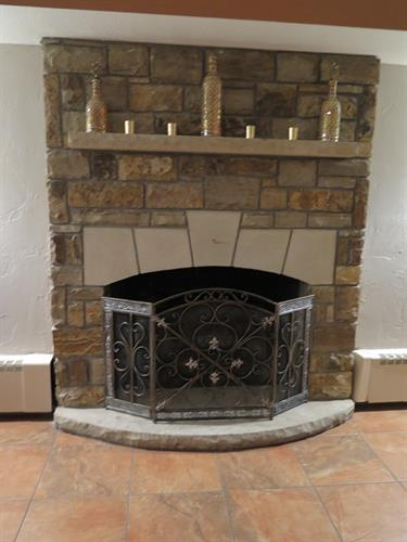 Stone Hearth Fireplace