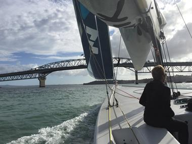 Sailing America's Cup in Auckland Bay