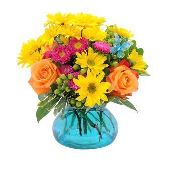 Rose's Rose Fun Flirty Florals pop in this Rosie Posie vase