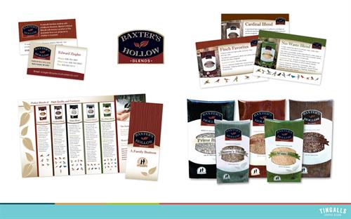 Logo design, packaging and point of purchase collateral for Baxter's Hollow Seed Company