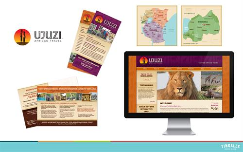 Logo design, print collateral, website and animated map for Ujuzi African Travel