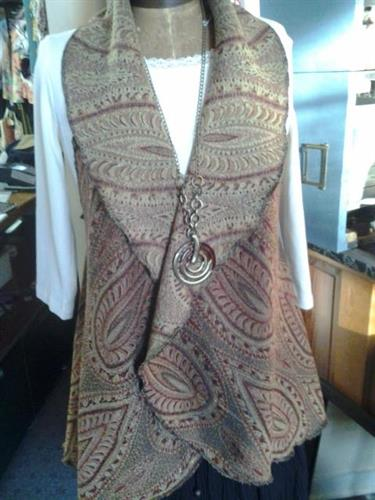 paisley decorator fabric circle vest and cape duo