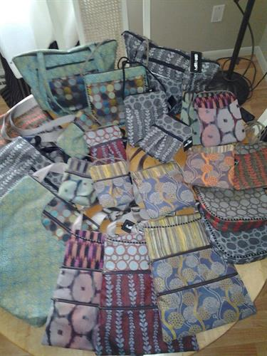 Full line of handmade Maruca purses