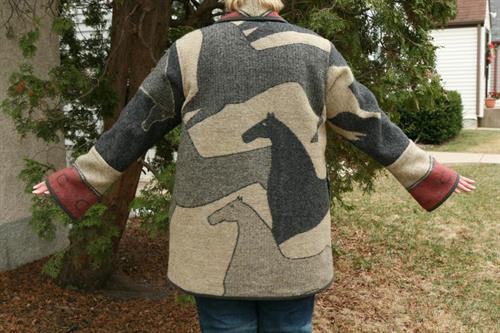 Running horse coat, back view, custom made with bell sleeves and shawl collar