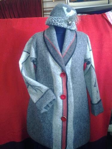 custom Tipi coat made from Faribault blanket