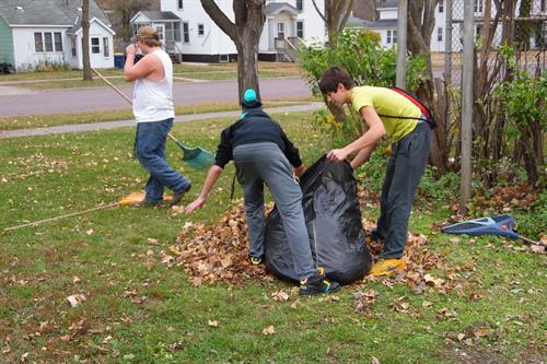 Helping clean up the neighborhood!