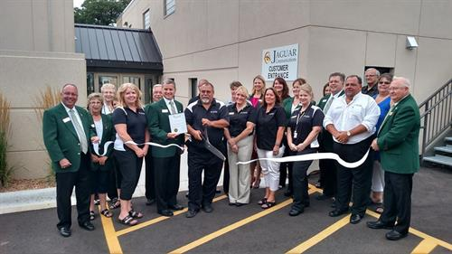 Ribbon-cutting ceremony during Jaguar Open House, July 2015.