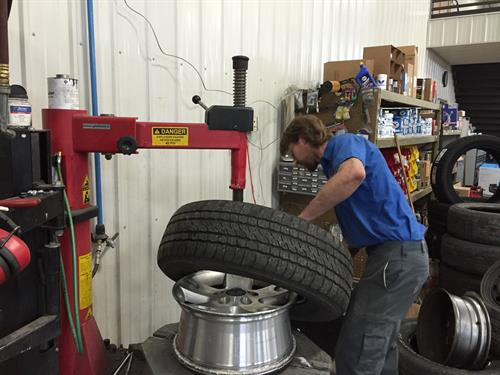 Our technician Kyle Mcdonough replacing a set of tires! You'll find the best deals here with the best quality service!