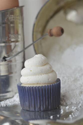 Classic bridal cupcake White cake with fresh almond-vanilla buttercream icing made from Hope Creamery butter and milk