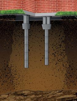 Granite Foundation Repair Method using Pressed Concrete Piers